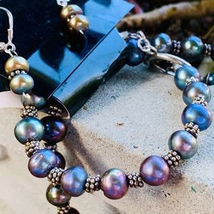 .925 Silver Iridescent Pearl 3-Piece Jewelry Set
